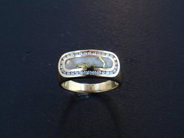 14KY Glacier Gold & Diamond Ring